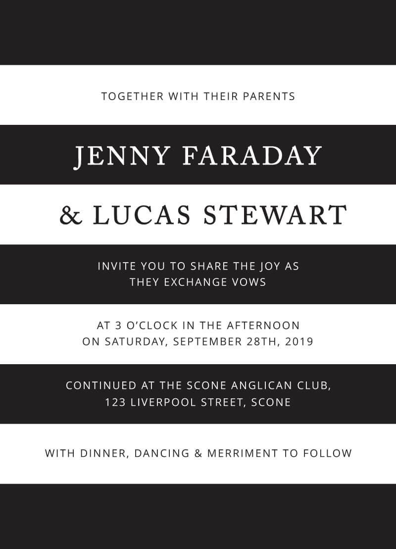Simple Stripe - Wedding Invitations