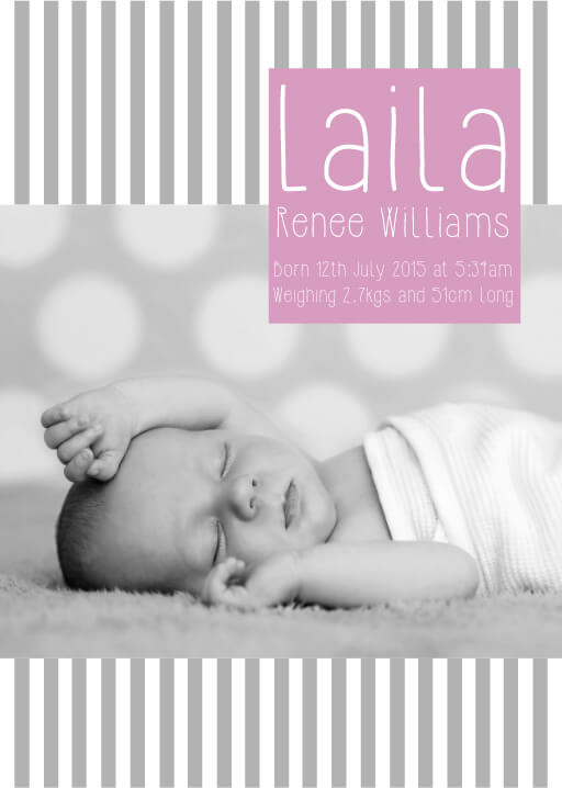 Grey Stripes Baby - baby announcements