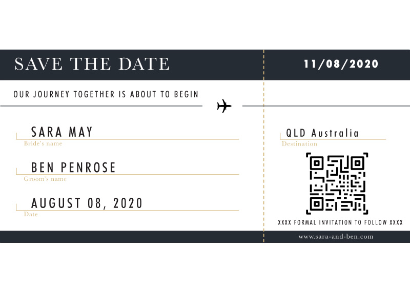 Voyage - Save The Date Boarding Pass