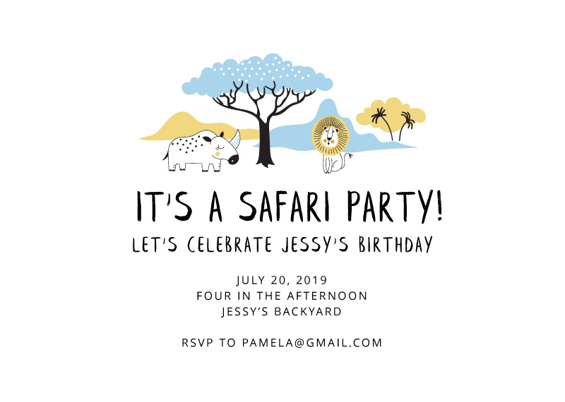 Adorable Safari - Birthday Invitations