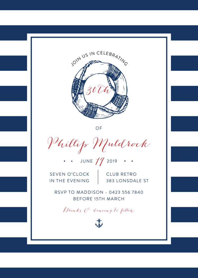 Navy Nautical - Birthday Invitations