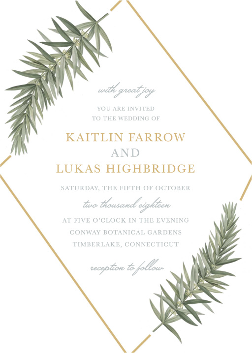 Diamond Branch Wedding Invitations - wedding invitations