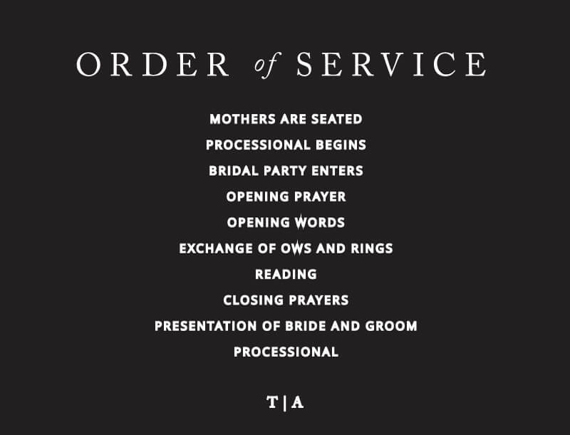 Black and White - Order Of Service
