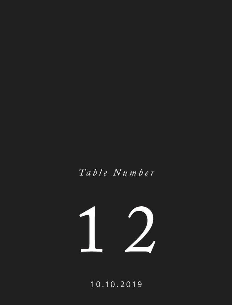 Black and White - Table Numbers
