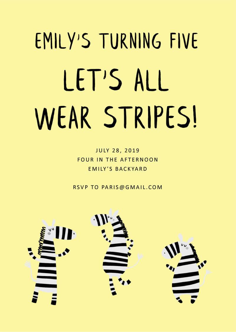 Cheerful Zebra - Birthday Invitations