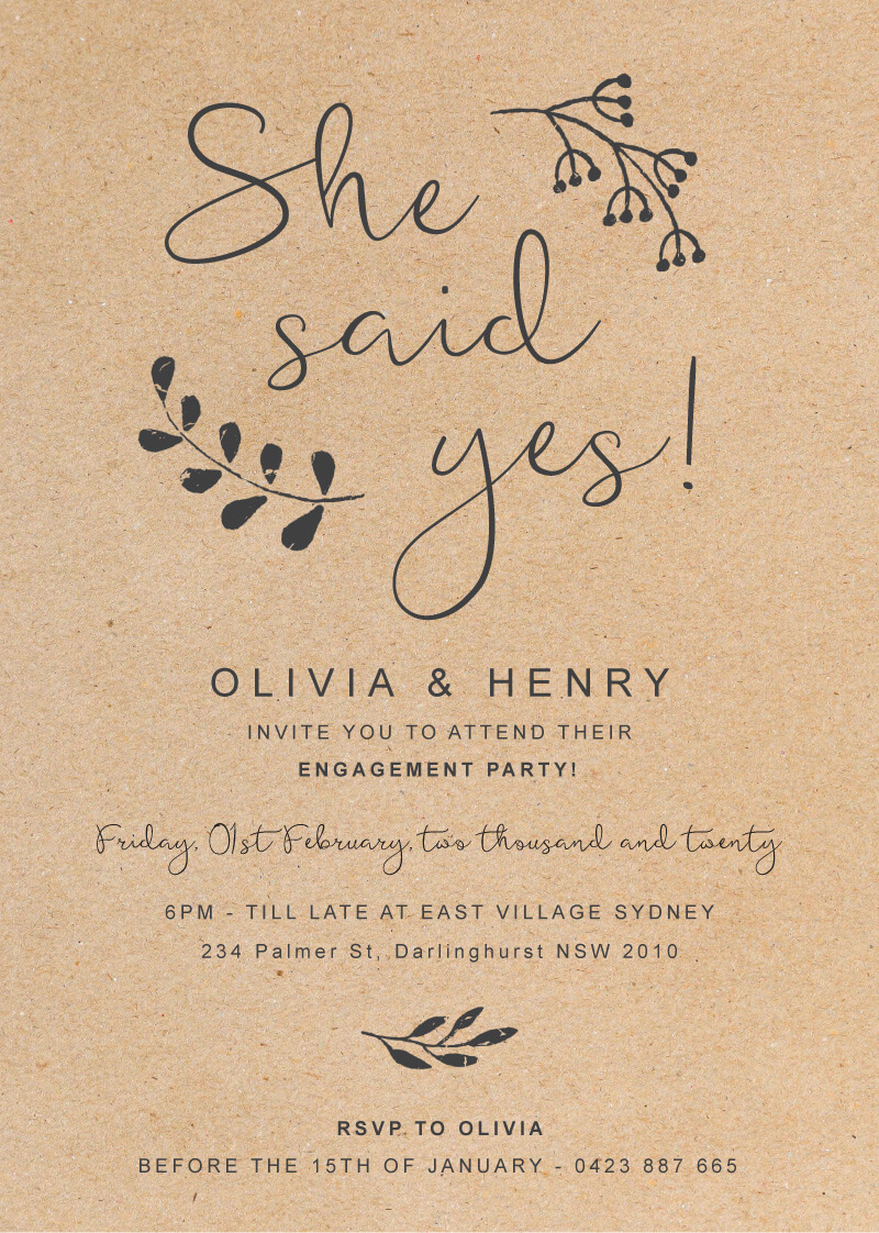 Charcoal Rustic - Engagement Invitations