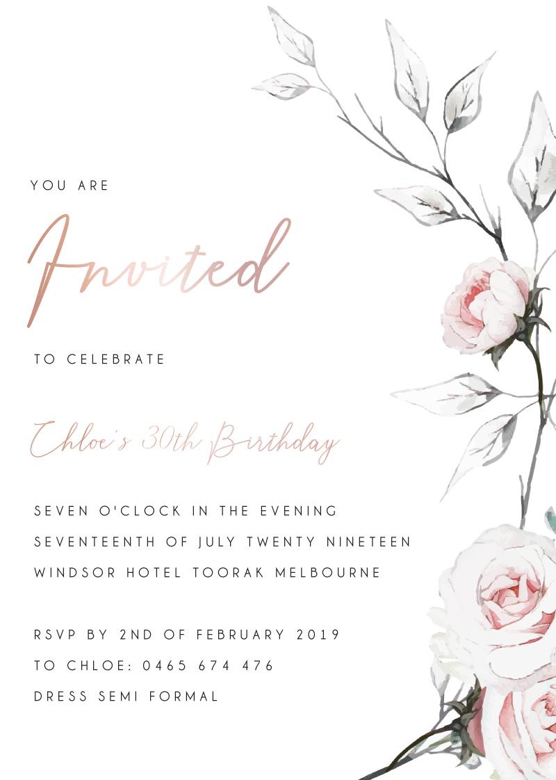 Florescence - Birthday Invitations