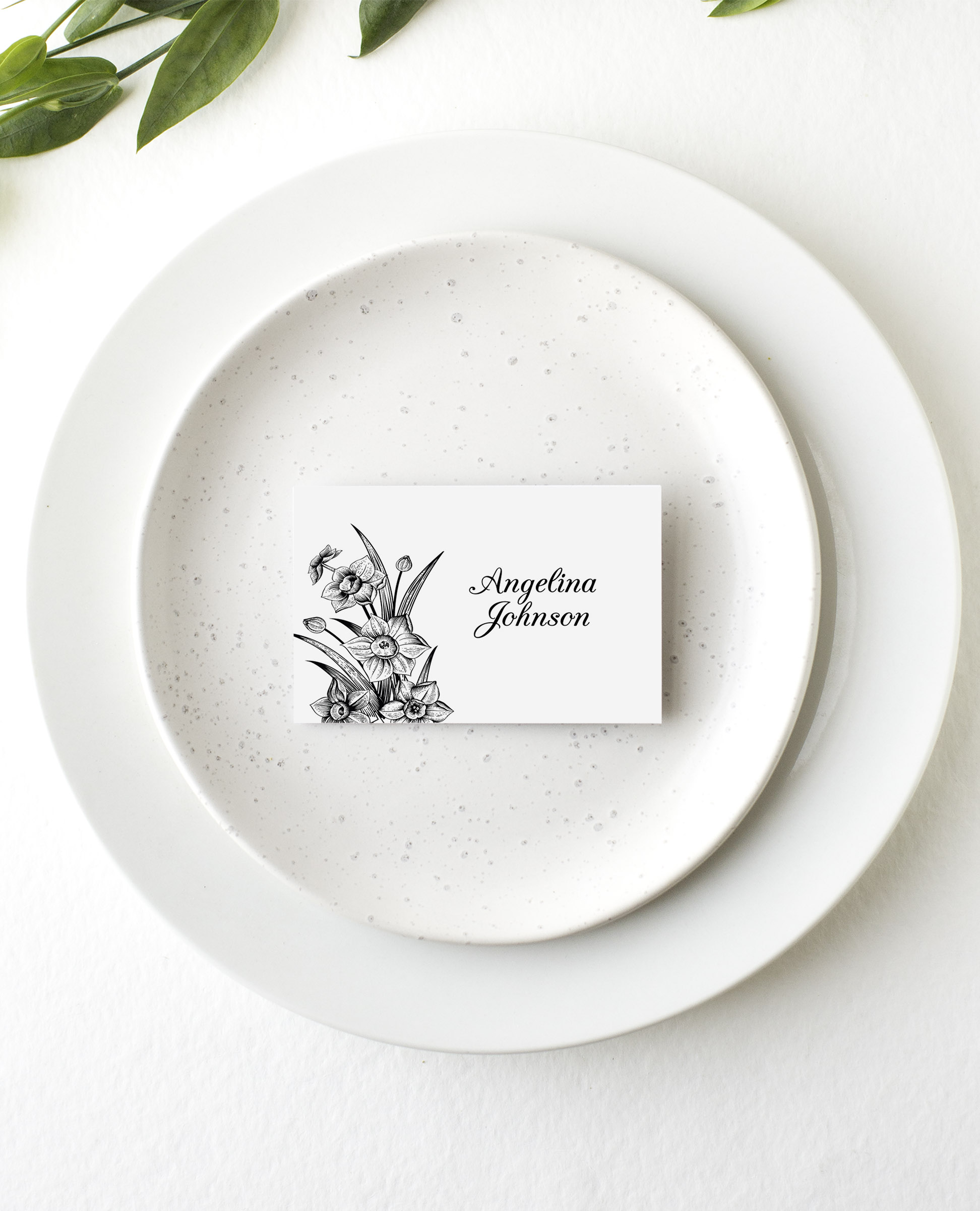 Monochrome Floral - Place Card