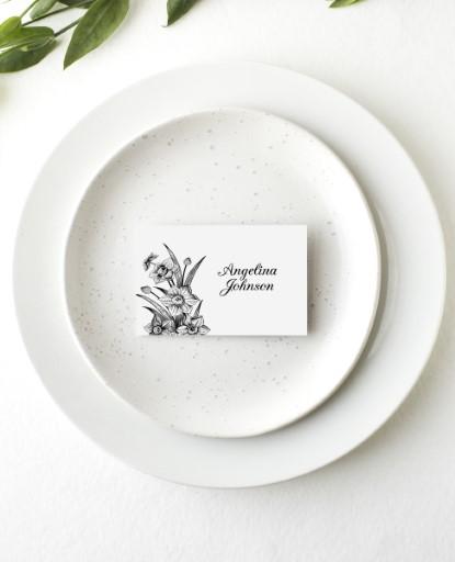 Monochrome Floral - Place Cards