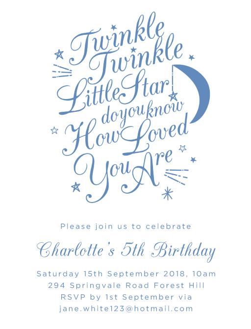 Twinkle Twinkle Birthday - birthday invitations