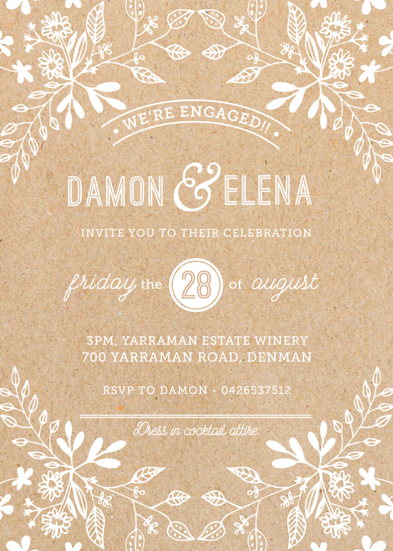 Rustic Floral Sketch - Engagement Invitations