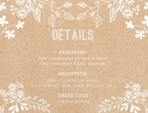 Rustic Floral Sketch - Information Cards