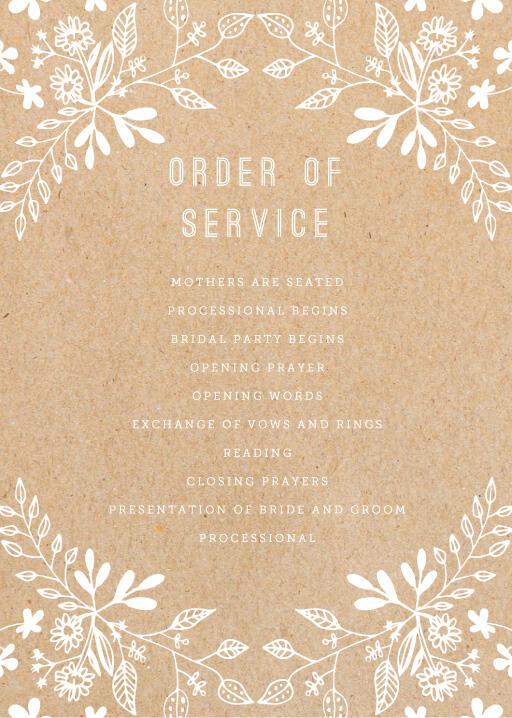 Rustic Floral Sketch - Order of Service