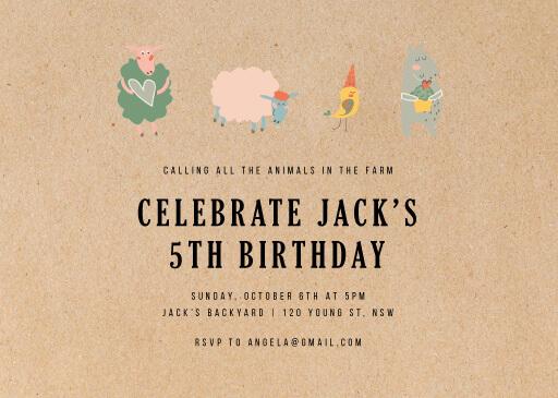 Rustic farm - birthday invitations