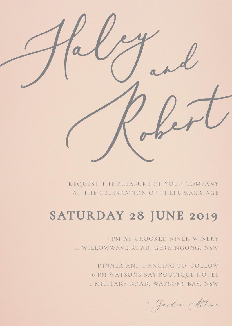 Rose et Gris - Wedding Invitations