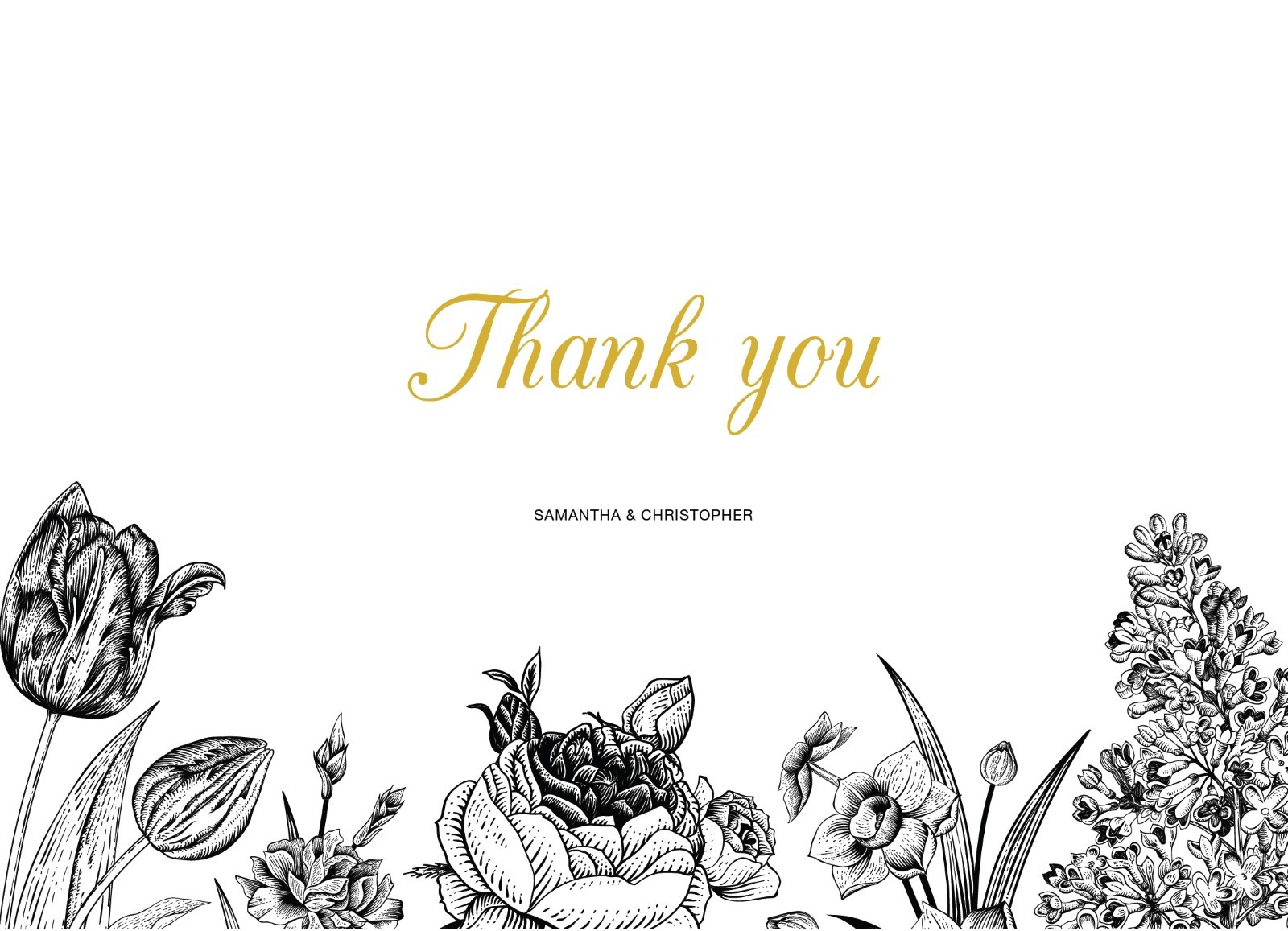 Monochrome Floral - Thank You Cards