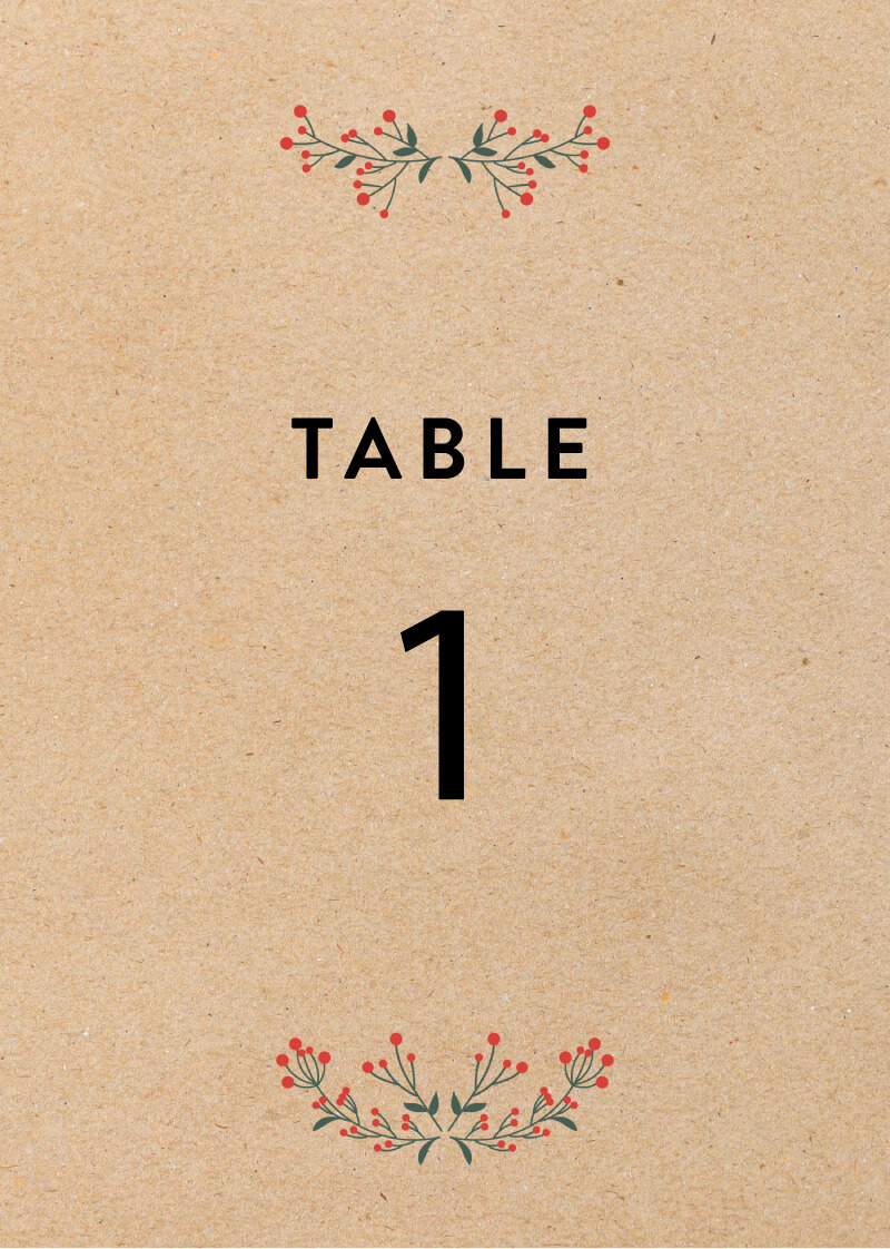 Berry lovely wedding - Table Numbers