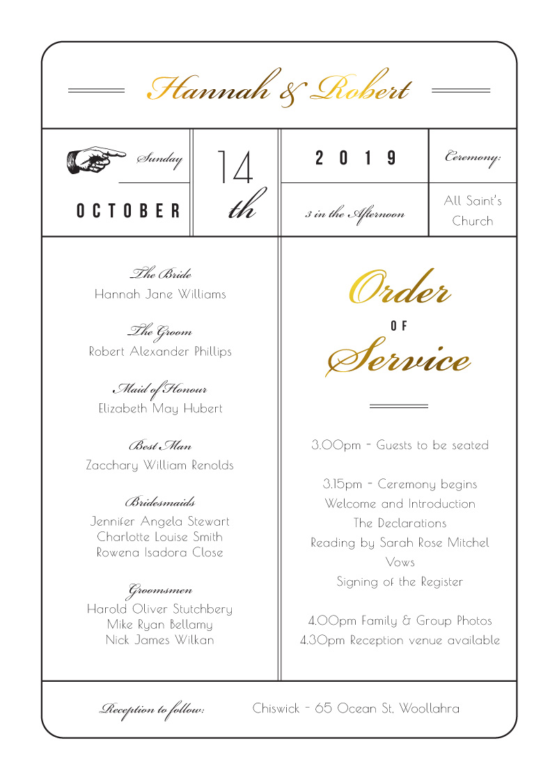 Movie Theatre - Order Of Service