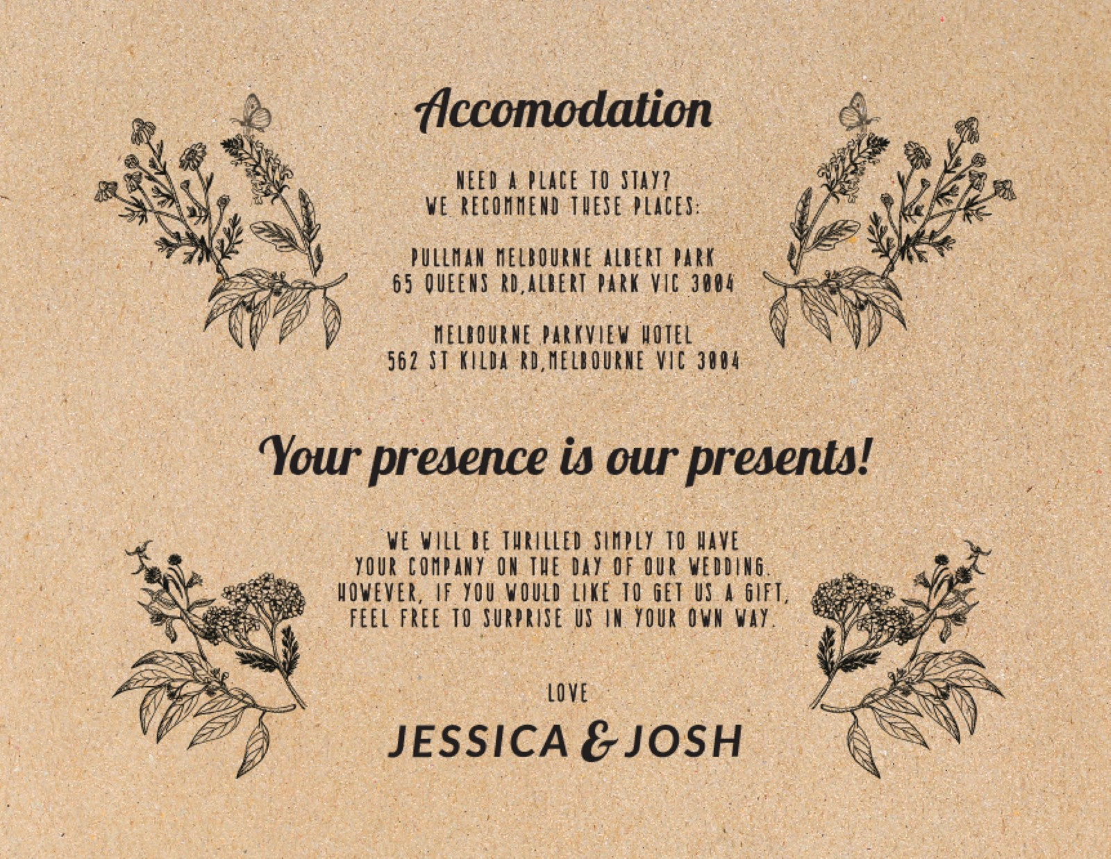 Rustic - Information Card
