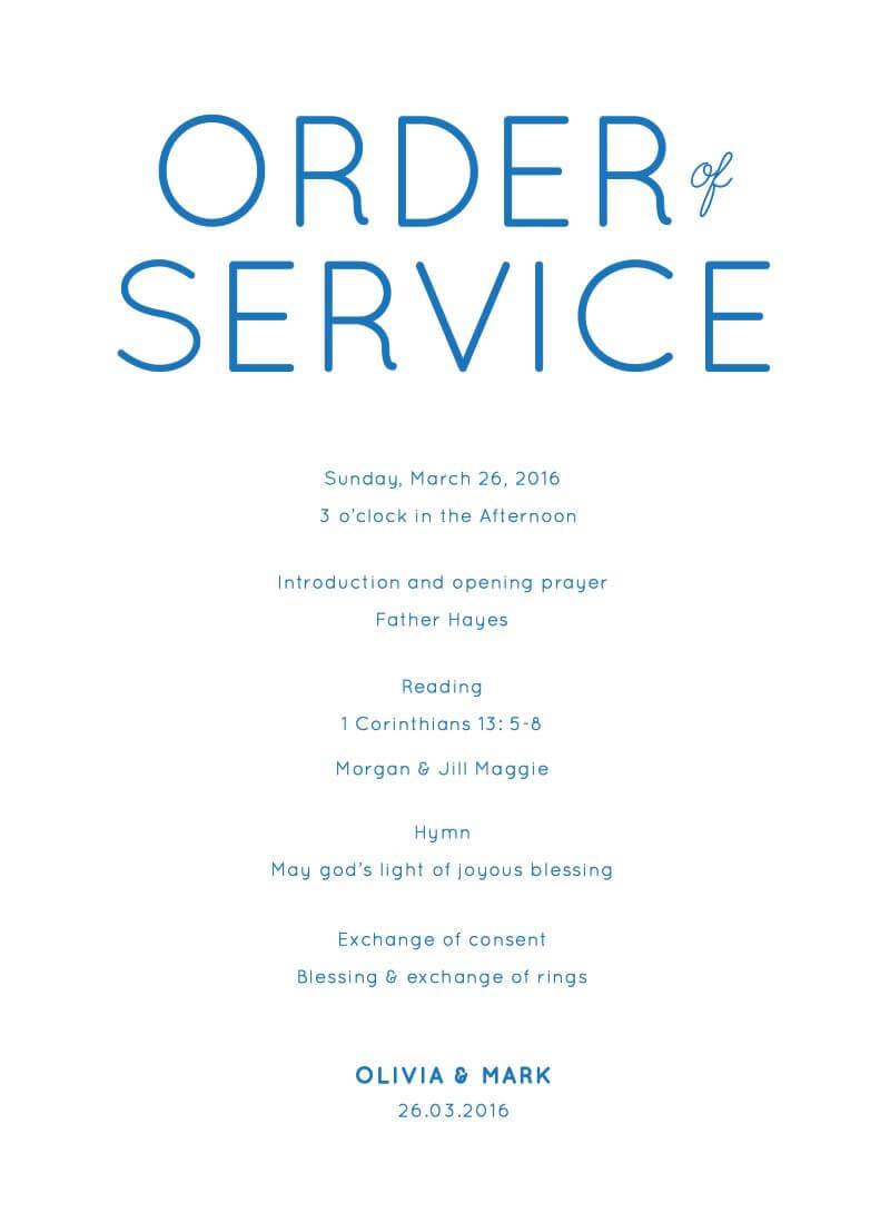 Modern - Order Of Service
