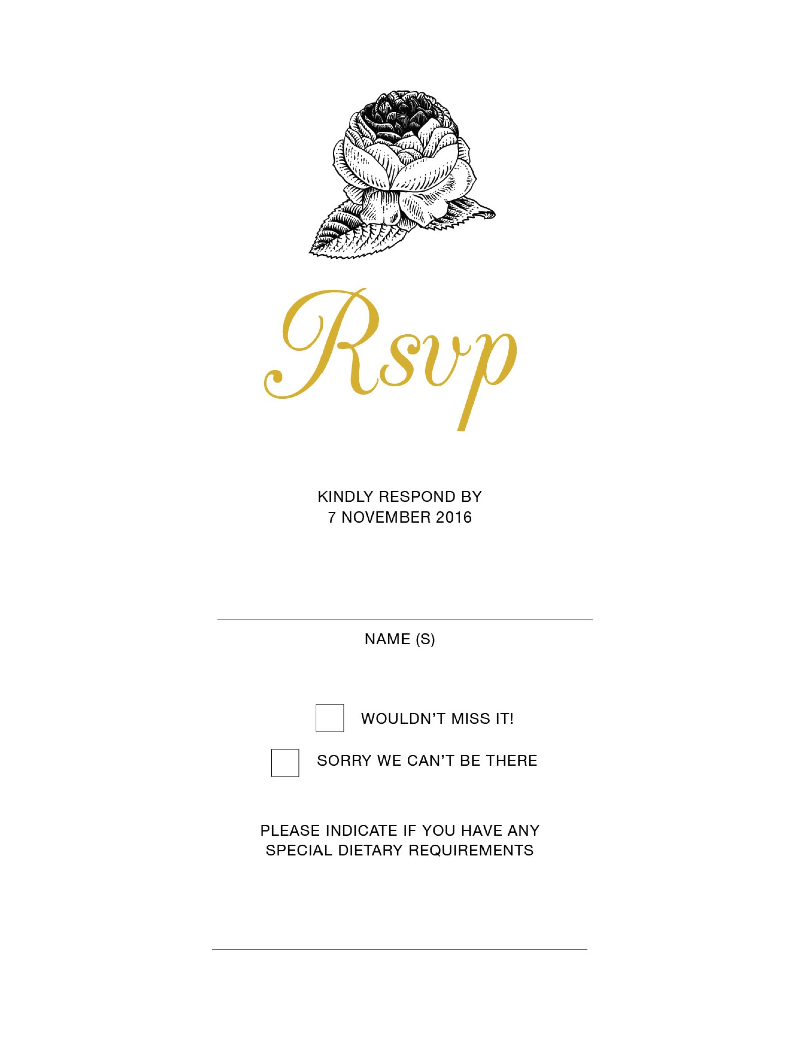 Monochrome Floral - RSVP Cards