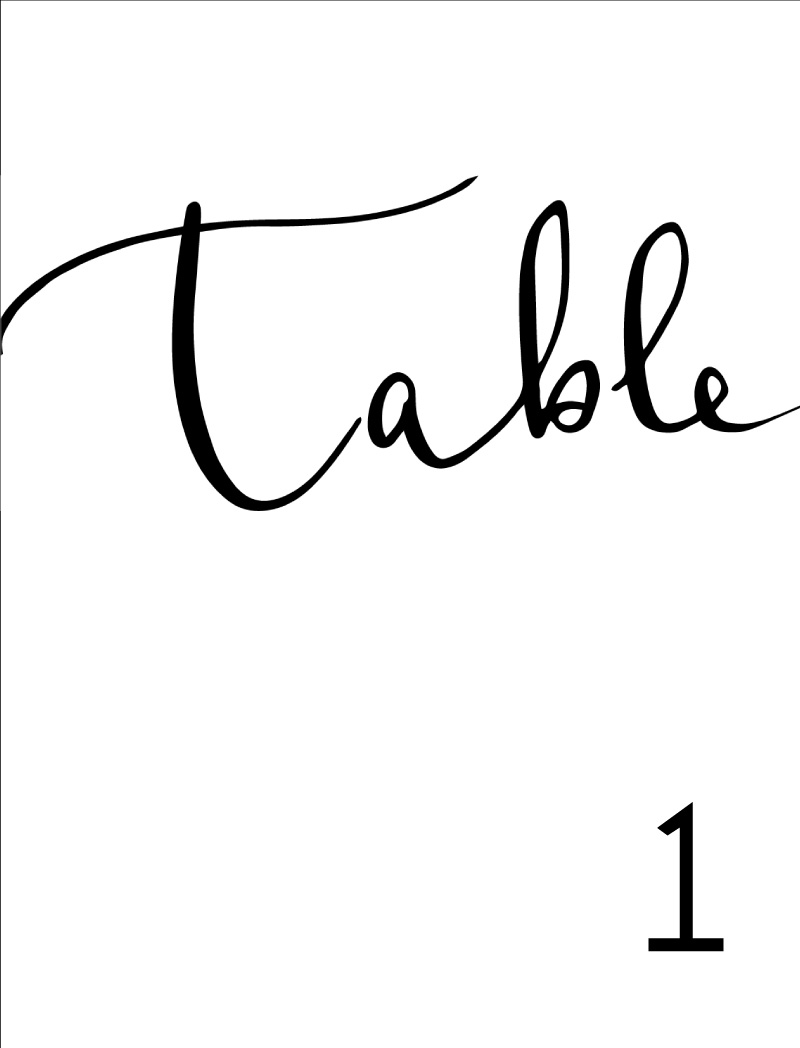 Ink and Nib - Table Numbers