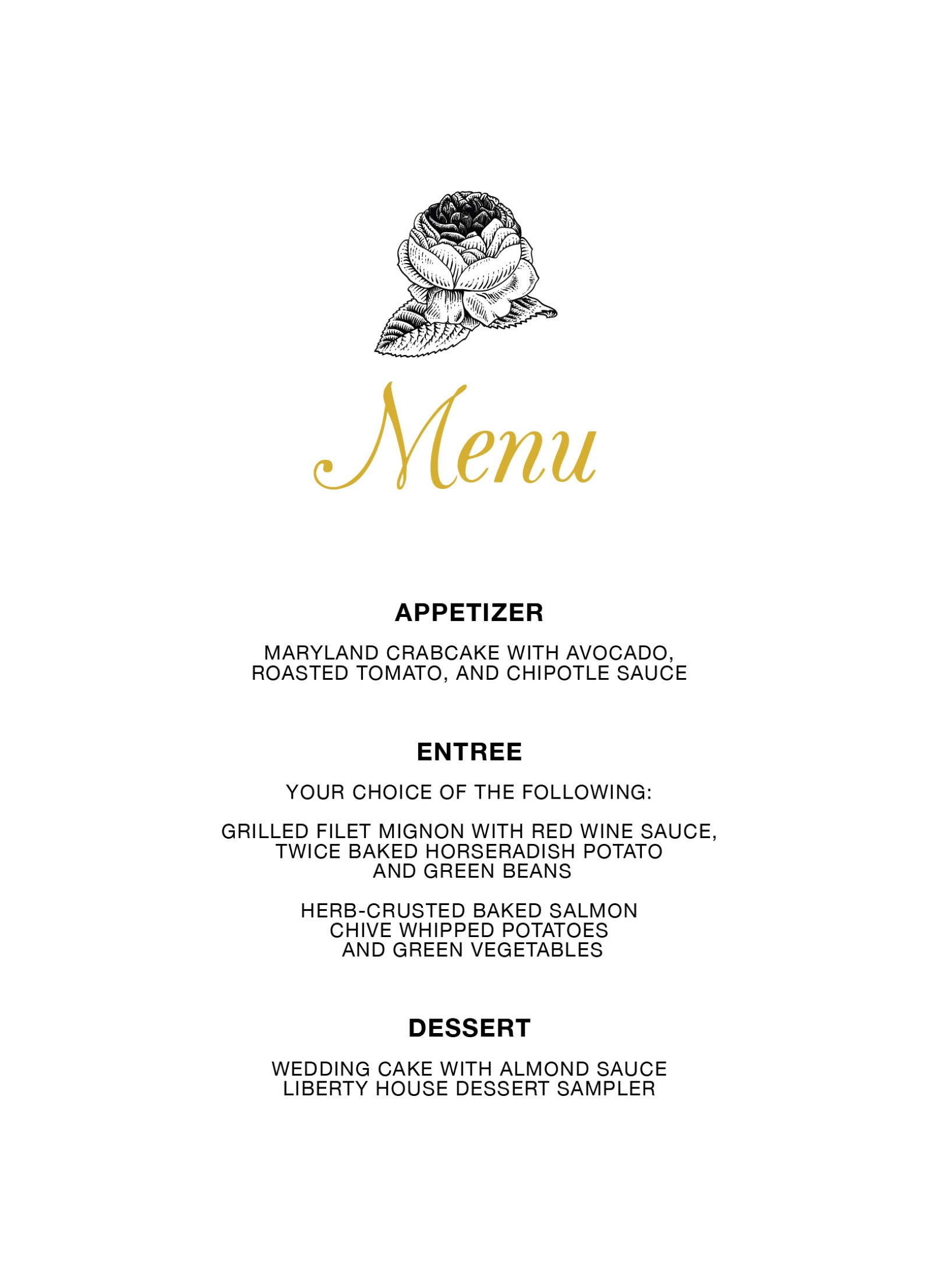 Monochrome Floral - Menu Card