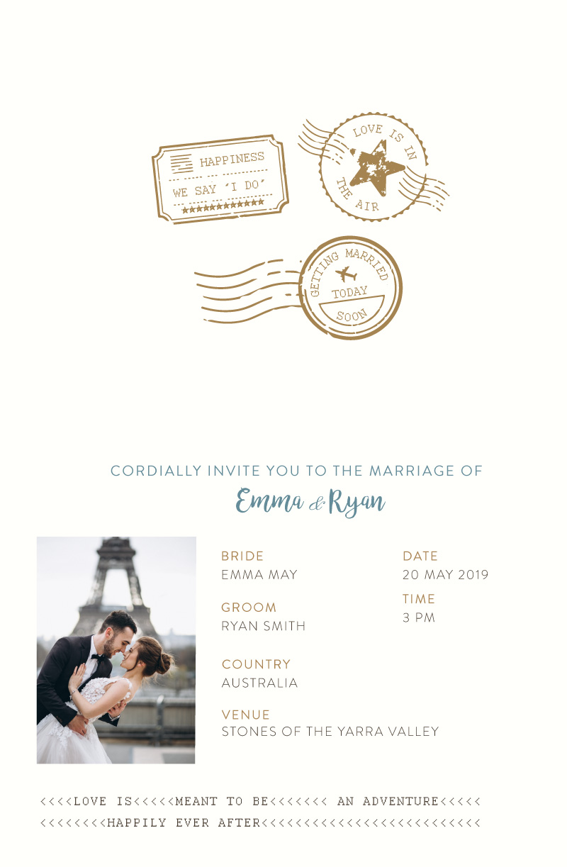 Lets Travel Together - Wedding Invitations