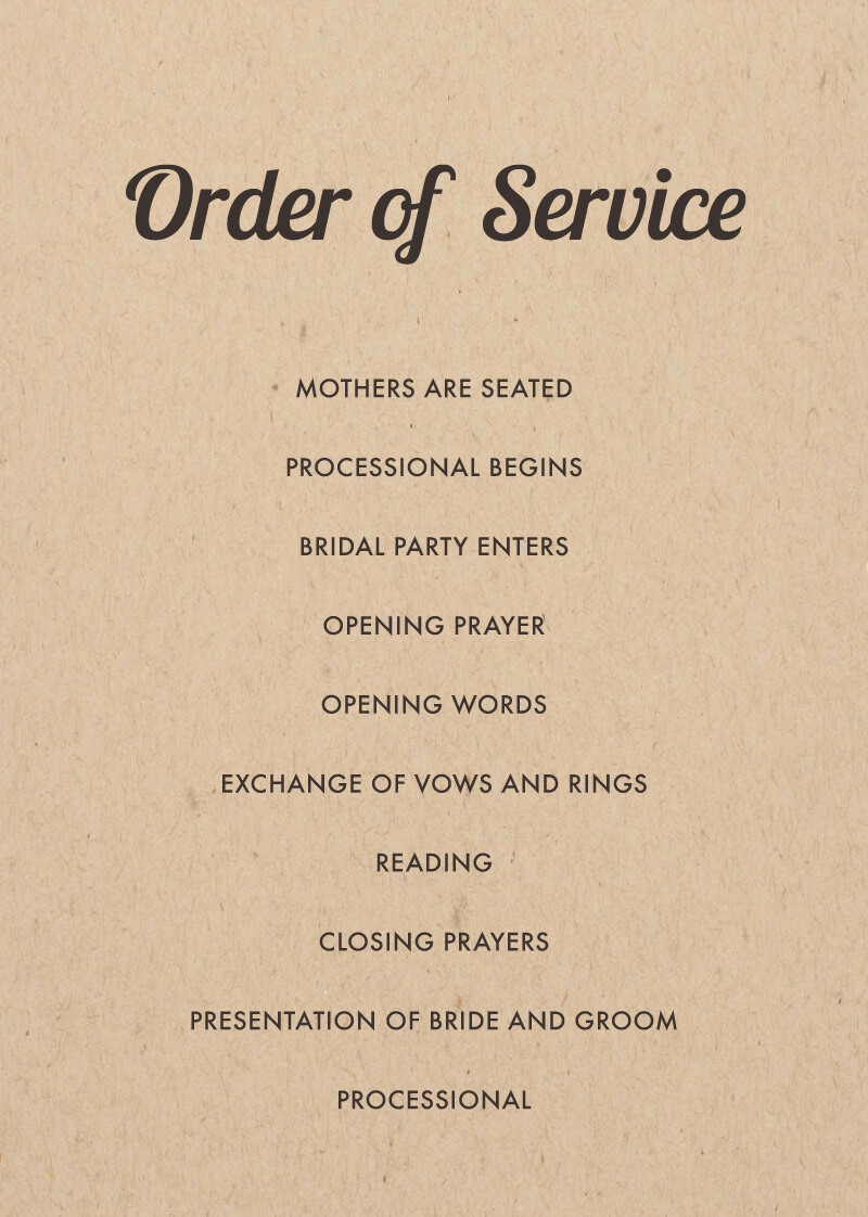 Woodstock - Order Of Service