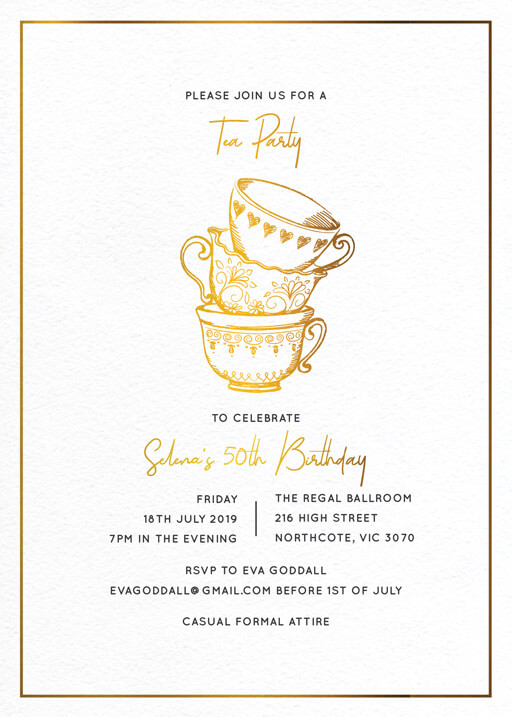 High Tea Party - birthday invitations