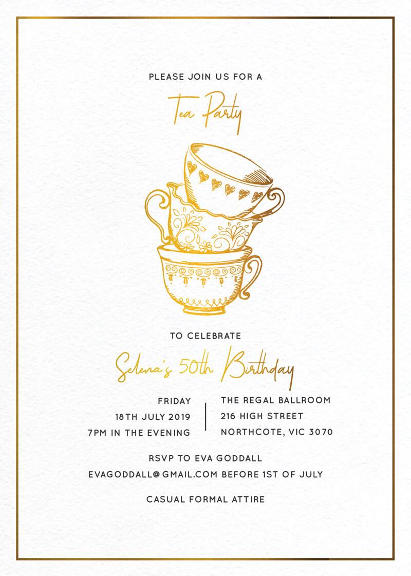 High Tea Party - Birthday Invitations