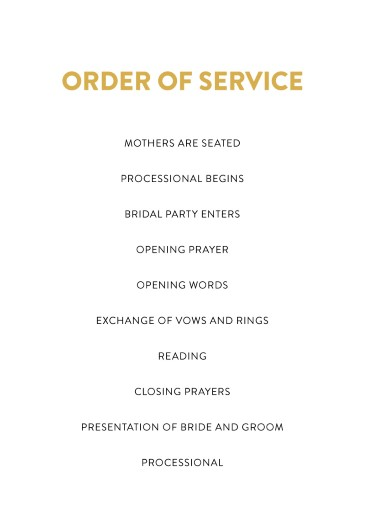 Photocards - Order of Service