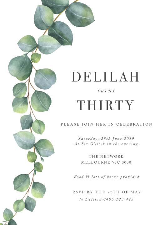Eucalyptus - birthday invitations