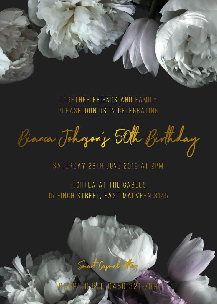 Gardenia - Birthday Invitations