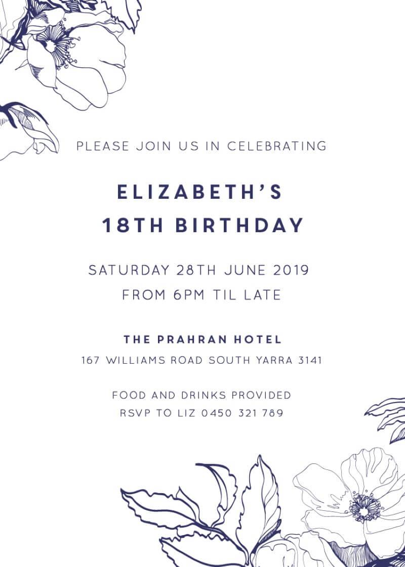 Blue Contour Birthday - Birthday Invitations