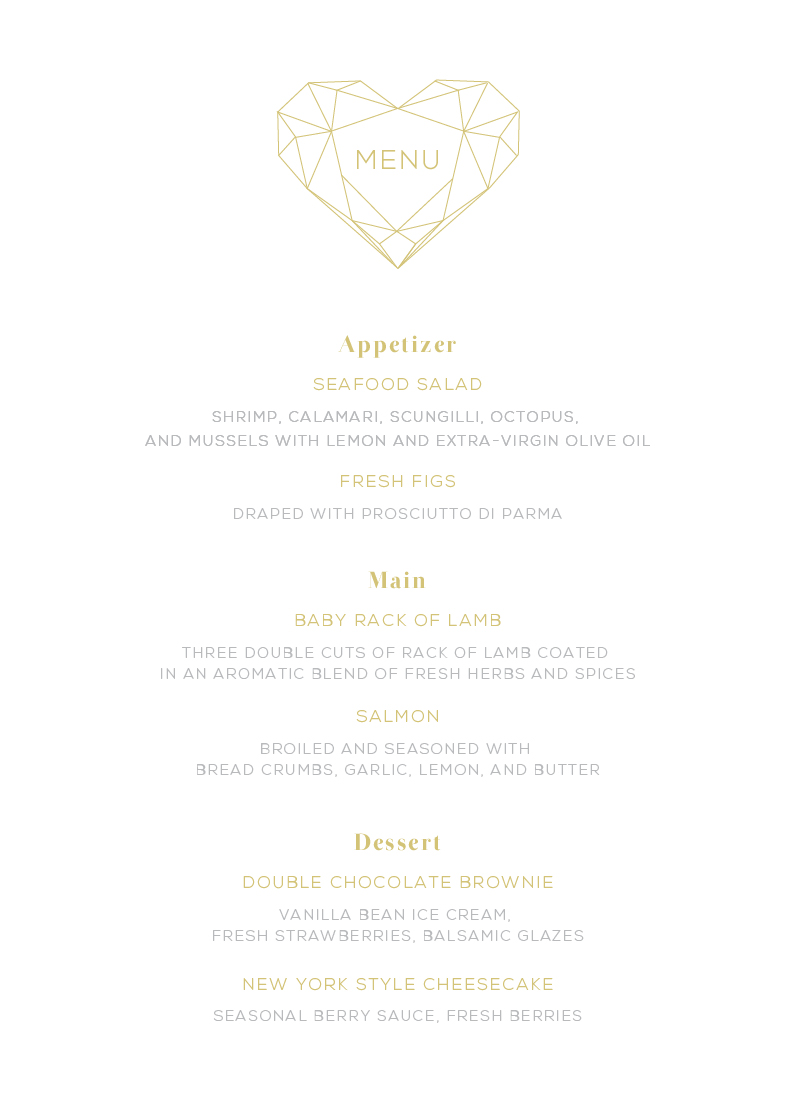 Diamond Love - Menu Card