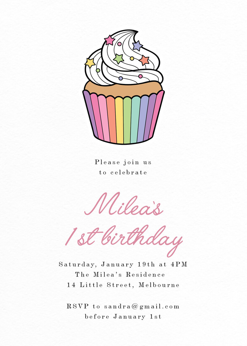 Rainbow Cup Cake - Birthday Invitations
