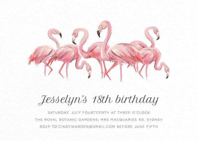 Pink Flamingo - Birthday Invitations