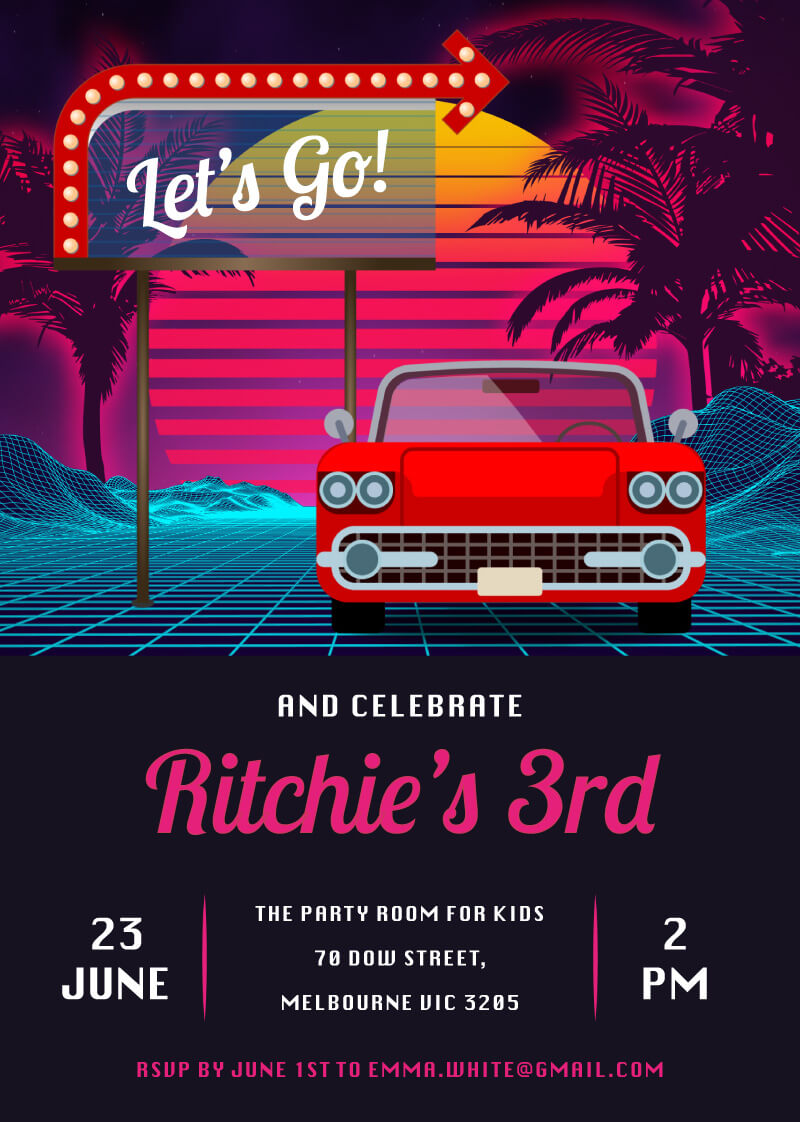 Lets Go - Birthday Invitations