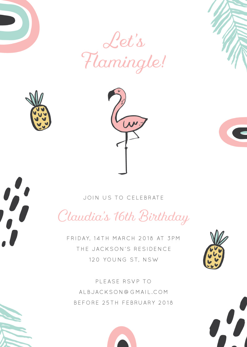 Flamingle - Birthday Invitations