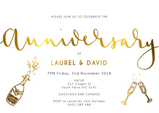 Ink and Nib Anniversary - Wedding Anniversary Invitations