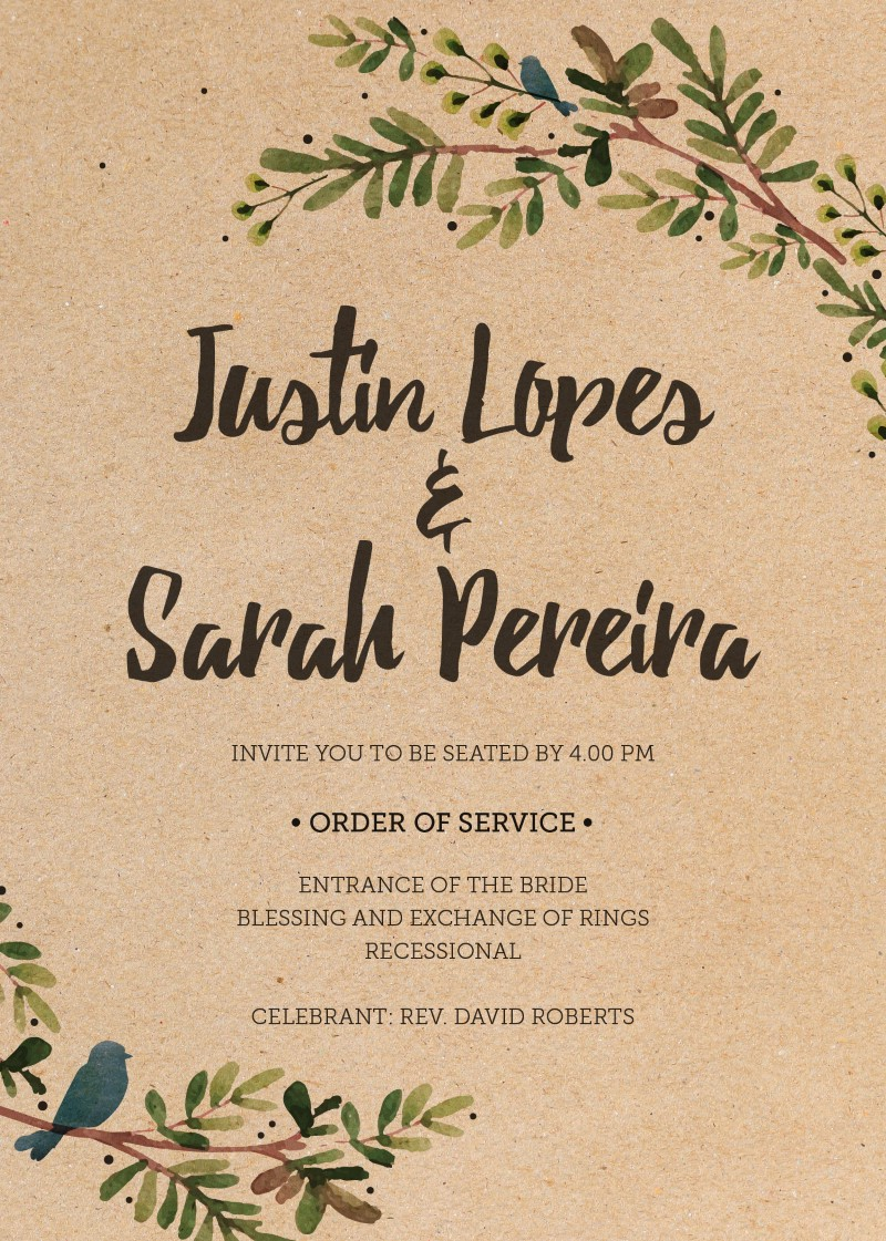 Rustic Garden - Order of Services