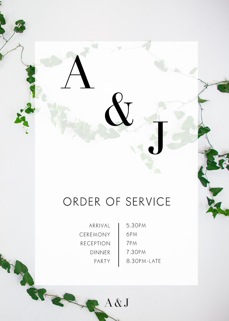 Ivy - Wedding Programs