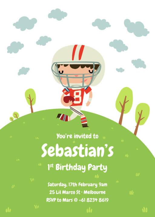 American Football - Birthday Invitations