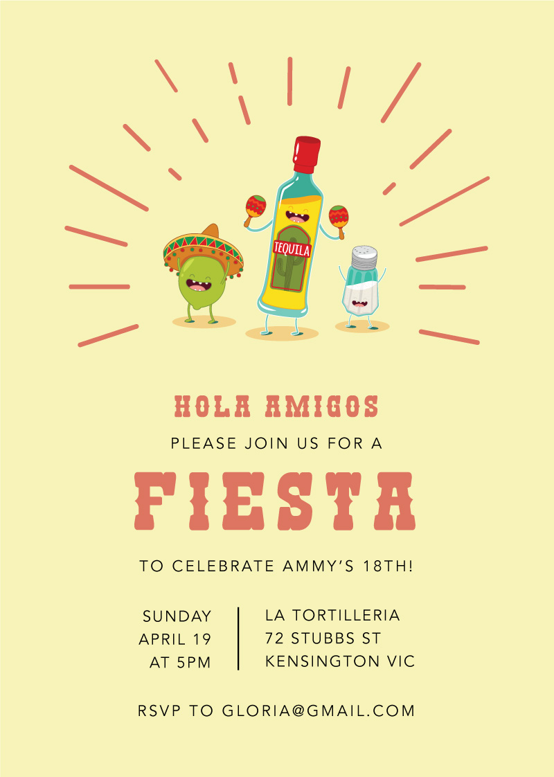 Fiesta Party - Birthday Invitations