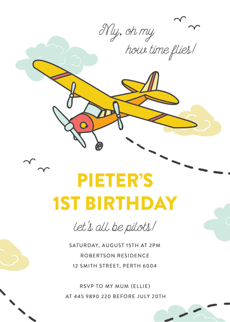 Airplane Mode - Birthday Invitations