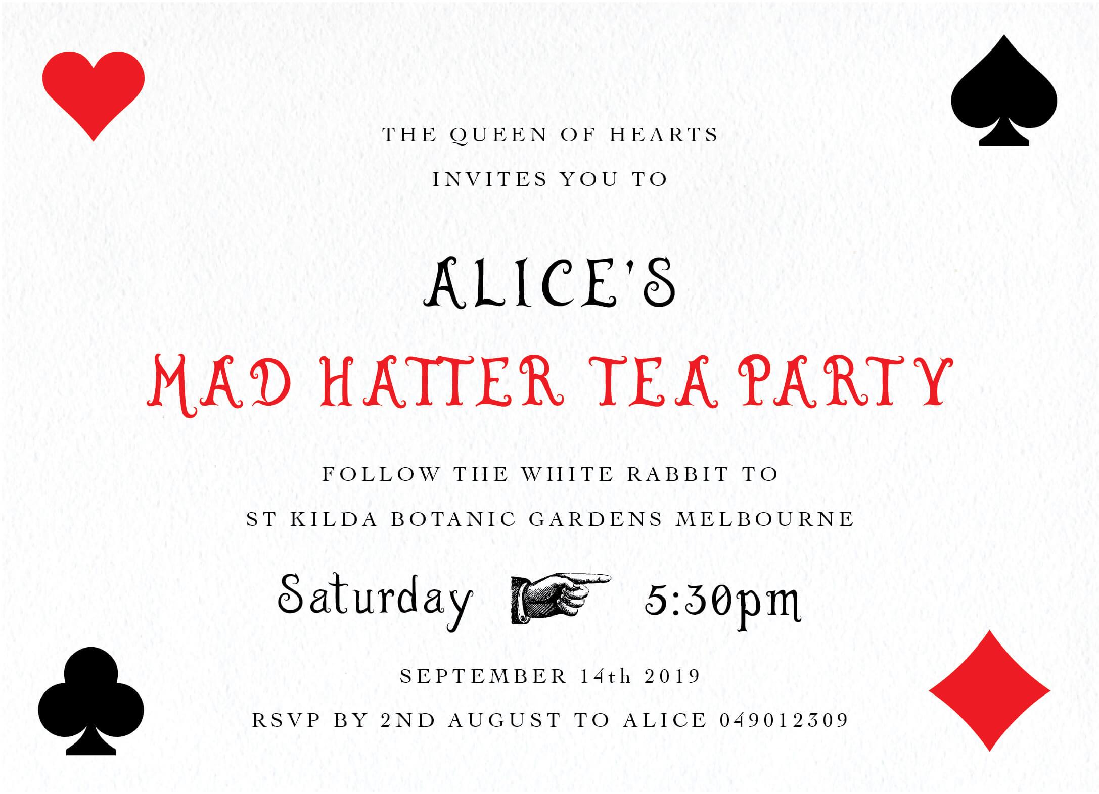 Mad Hatter Tea Party - Birthday Invitations