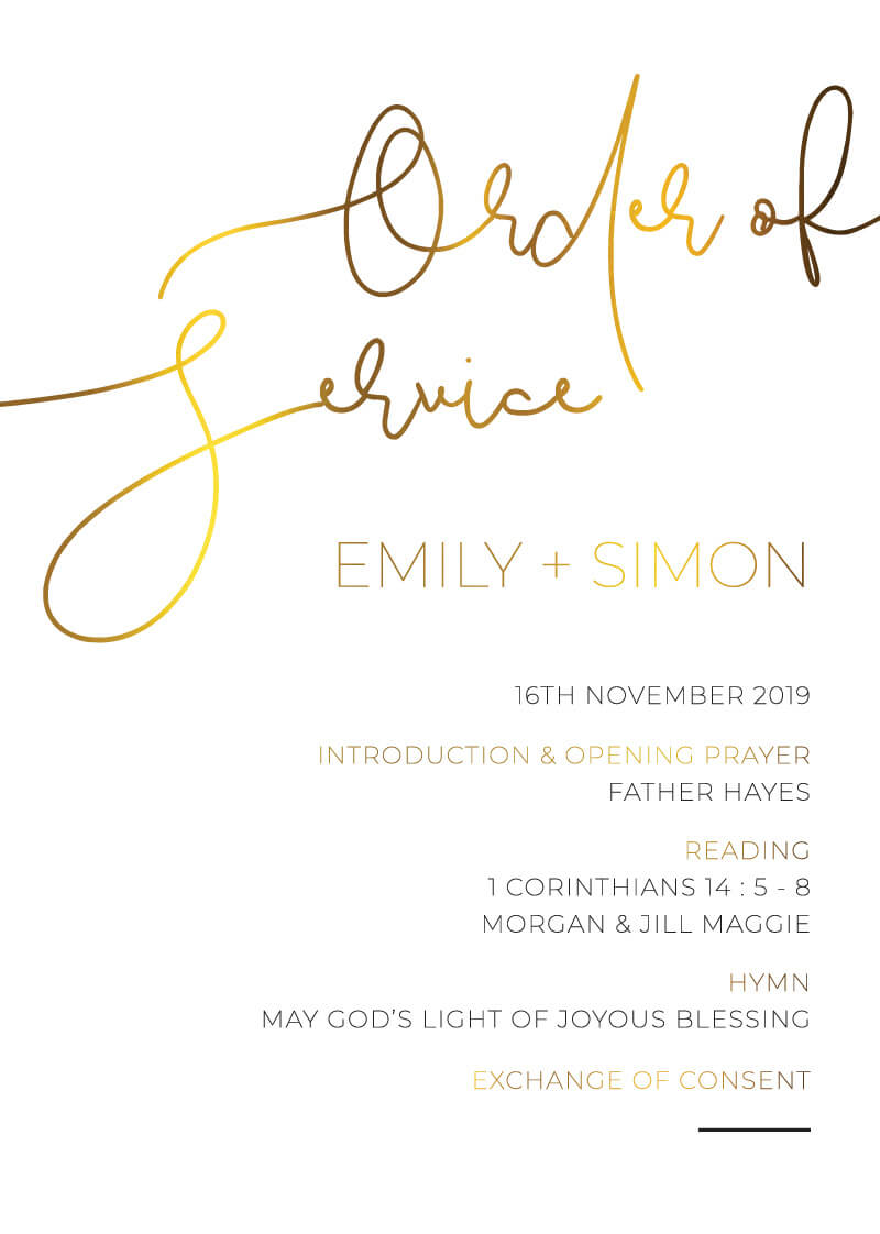Minimalist Black and White - Wedding Programs