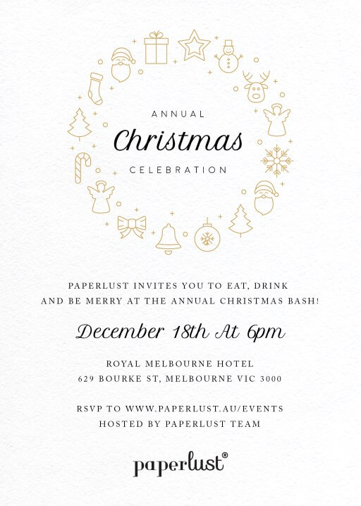 A Christmas Feast - christmas party invitations