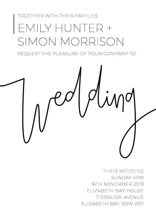 Minimalist Black and white Wedding Invitations - wedding invitations